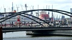4K Busy Germany Hamburg old metal bridges over Elbe river Port Harbour Harbor Stock Footage