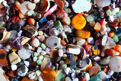 agate stone with many colorful mineral quartz - stock photo