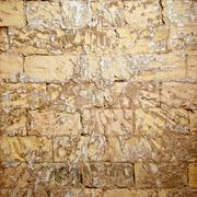 brick wall grunge scraped brickwall to restore - stock photo