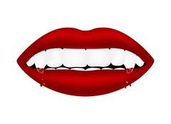 Vampire mouth with bloody teeth - stock illustration