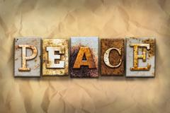 Peace Concept Rusted Metal Type - stock illustration