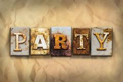 Party Concept Rusted Metal Type - stock illustration