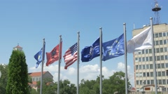 National library of Kosovo flags Stock Footage