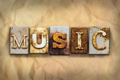 Music Concept Rusted Metal Type - stock illustration