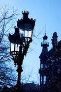 Barcelona Rambla Catalunya streetlights backligth Stock Photos