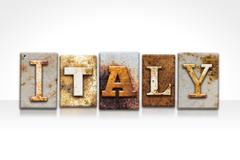 Italy Letterpress Concept Isolated on White - stock illustration