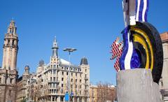 Pop statue head of Barcelona Roy Lichtenstein Stock Photos