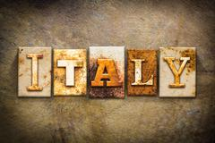 Italy Concept Letterpress Leather Theme Stock Illustration