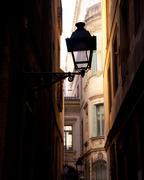 Barcelona gothic barrio streetlight backlight Stock Photos
