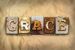 Grace Concept Rusted Metal Type - stock illustration
