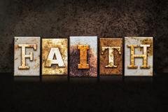 Faith Letterpress Concept on Dark Background - stock illustration