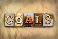 Goals Concept Rusted Metal Type - stock illustration