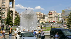 City scene with  fountain and people. Centre of Kiev, capital of Ukraine.4K 384 Stock Footage