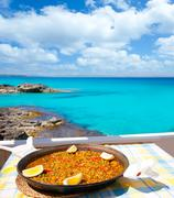 Paella mediterranean rice food in balearic islands Stock Photos