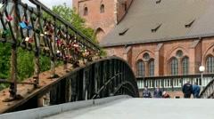 4K Germany Hamburg Speicherstadt Warehouse district people walking on metal Stock Footage