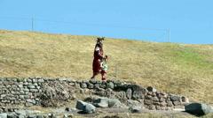 Editorial - Inca Warrior In Traditional Costume Inti Raymi Peru Stock Footage