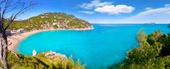 Aerial view of Caleta de Sant Vicent in Ibiza island - stock photo