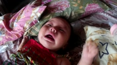 Baby crying intense Stock Footage