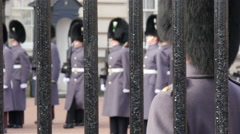 Palace guards wearing black feathery hat Stock Footage