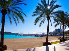 Ibiza Sant antoni de Portmany Abad beach Stock Photos