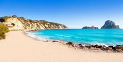 Es vedra island of Ibiza view from Cala d Hort - stock photo