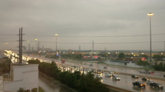 timelapse of a rainy morning hwy 59 south Houston - stock footage