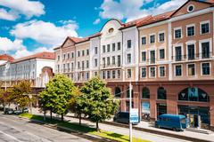 Street In Minsk, Downtown Nyamiha Nemiga - stock photo