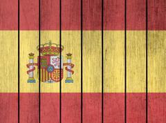 Wooden Flag Of Spain - stock illustration