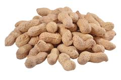 Heap of whole peanuts on a white Stock Photos