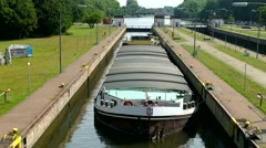 TL 4K Germany NRW Ruhr Area Barge in Lock Sluice Floodgate Lock Stock Footage