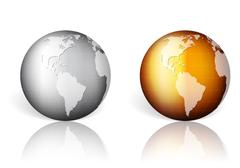 Gold silver world globe Stock Illustration