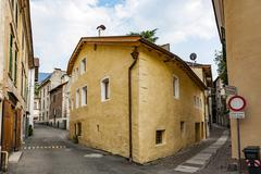 Stock Photo of typical old houses in famous village of Meran