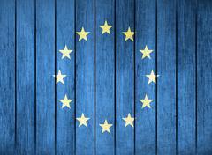 Wooden Flag Of Europa - stock illustration