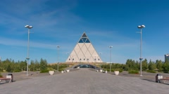 Pyramid Palace of Peace and Reconciliation in Astana Kazakhstan Stock Footage