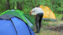 Installation of camping in a mountain forest in Europe Stock Footage