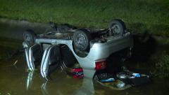 Car Upside Down in Water Stock Footage
