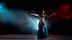 Sensetive belly dance movements of young and attractive girl in great dress Stock Footage