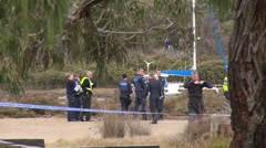 Police & Police divers at fatal Stock Footage