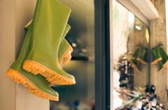 Green Boots - workwear shoes - stock photo