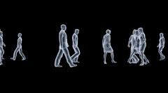 Peoples x ray walk with alpha mask Stock Footage