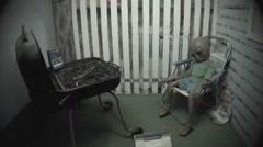 Grey Alien At Barbeque- Whimsical Diorama- Area 51- Roswell NM - stock footage