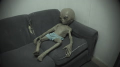 Grey Alien On Couch- Whimsical Diorama- Area 51- Roswell NM Stock Footage