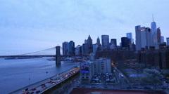 New York - Manhattan downtown skyline in the evening Stock Footage