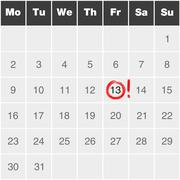 Month calendar monday to sunday with red marked Friday 13th - stock illustration