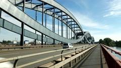 TL 4K Germany Hamburg unique architectural metal Elbbrücken Elbe bridges Stock Footage