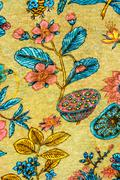 Texture of vintage print fabric striped flowers for background Stock Photos