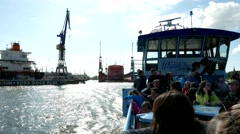 4K Port of Hamburg Tourists on Tour boat at Elbe river harbour Harbor Stock Footage