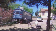 School Bus Converted To Home In Small Town Stock Footage