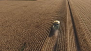 Stock Video Footage of aerial view following maize harvester