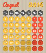 Month planning calendar - August 2016 Stock Illustration